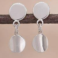 Sterling silver dangle earrings, 'Sun Reflections' - Circle Design Sterling Silver Dangle Earrings from Peru