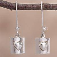 Sterling silver dangle earrings, 'Hearts in Boxes' - Heart Motif Sterling Silver Dangle Earrings from Peru
