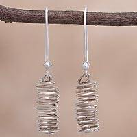 Sterling silver dangle earrings, 'Modern Whirlwind' - Spiral-Shaped Sterling Silver Dangle Earrings from Peru