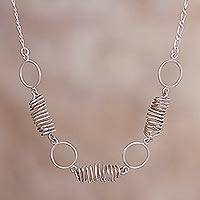 Sterling silver link pendant necklace, 'Modern Whirlwind' - Sterling Silver Spiral Link Pendant Necklace from Peru