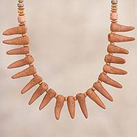 Ceramic beaded necklace, 'Andean Fangs' - Fang-Shaped Ceramic Beaded Pendant Necklace from Peru