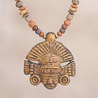 Ceramic beaded pendant necklace, 'Inca Headdress' - Handcrafted Inca Ceramic Beaded Pendant Necklace from Peru