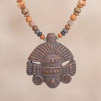 Ceramic beaded pendant necklace, 'Inca Headdress in Brown' - Inca Ceramic Beaded Pendant Necklace in Brown from Peru
