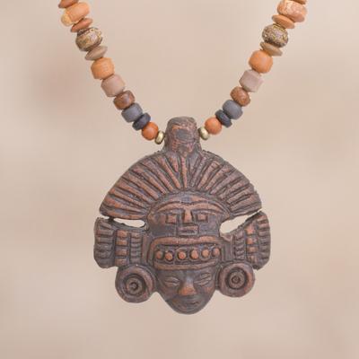 Inca ceramic beaded pendant necklace in brown from peru inca ceramic beaded pendant necklace inca headdress in brown inca ceramic beaded pendant aloadofball Images