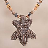 Ceramic beaded pendant necklace, 'Inca Leaves' - Leaf-Shaped Ceramic Beaded Pendant Necklace from Peru