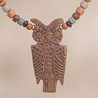 Ceramic beaded pendant necklace, 'Nocturnal Vigilance' - Owl-Shaped Ceramic Beaded Pendant Necklace from Peru