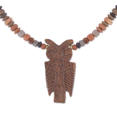 Owl-Shaped Ceramic Beaded Pendant Necklace from Peru