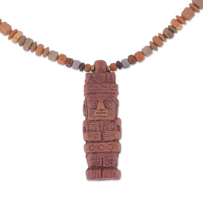 Incan Ceramic Beaded Pendant Necklace from Peru