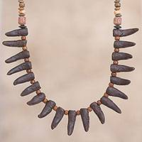 Ceramic beaded necklace, 'Andean Fangs in Brown' - Black Fang-Shaped Ceramic Beaded Pendant Necklace from Peru