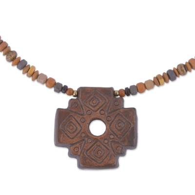 Chakana Cross Beaded Pendant Necklace in Brown from Peru