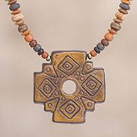 Ceramic beaded pendant necklace, 'Sun Chakana' - Chakana Cross Ceramic Beaded Pendant Necklace from Peru