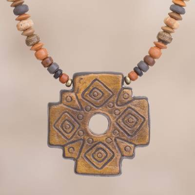 Chakana cross ceramic beaded pendant necklace from peru sun ceramic beaded pendant necklace sun chakana chakana cross ceramic beaded pendant necklace aloadofball Image collections