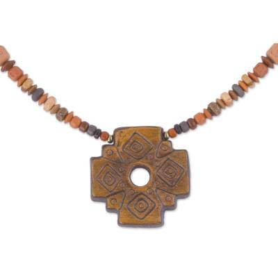 Chakana Cross Ceramic Beaded Pendant Necklace from Peru