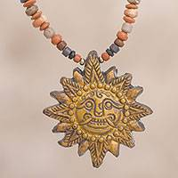 Ceramic beaded pendant necklace, 'Incan Sun God in Yellow' - Sun Ceramic Beaded Pendant Necklace in Yellow from Peru