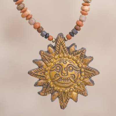 Sun ceramic beaded pendant necklace in yellow from peru incan sun ceramic beaded pendant necklace incan sun god in yellow sun ceramic beaded aloadofball Images