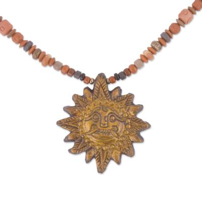 Sun Ceramic Beaded Pendant Necklace in Yellow from Peru