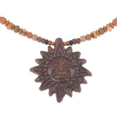 Sun Ceramic Beaded Pendant Necklace in Brown from Peru