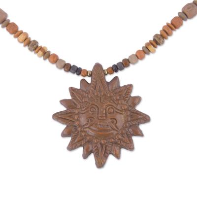 Sun Ceramic Beaded Pendant Necklace from Peru