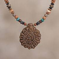 Ceramic beaded pendant necklace, 'Divine Sun' - Sun-Shaped Ceramic Beaded Pendant Necklace from Peru