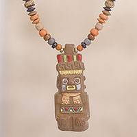 Ceramic beaded pendant necklace, 'Earthen God' - Hand-Painted Ceramic Beaded Pendant Necklace from Peru