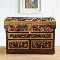 Leather and wood jewelry chest, 'Treasure Garden in Amber' - Leather and Cedar Embellished Wood Mirrored-Lid Jewelry Box