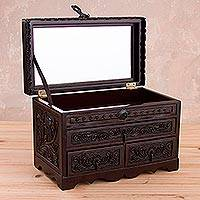 Leather and wood jewelry chest, 'Treasure Garden in Brown' - Leather and Cedar Embellished Wood Mirrored-Lid Jewelry Box