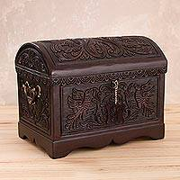 Leather and wood jewelry chest, 'Avian Treasure' - Tooled Leather Cedar Embellished Wood Domed-Lid Jewelry Box