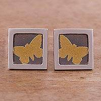Gold accent sterling silver stud earrings, 'Butterfly Frames' (square) - Gold Accent Silver Butterfly Stud Earrings from Peru