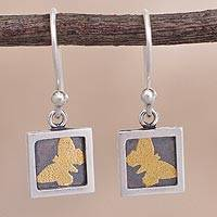 Gold accent sterling silver dangle earrings, 'Butterfly Frames' - Gold Accent Silver Butterfly Dangle Earrings from Peru