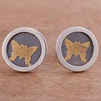 Gold accent sterling silver stud earrings, 'Butterfly Frames' (circle) - Circular Gold Accent Silver Butterfly Earrings from Peru