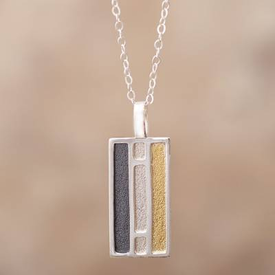 Gold accent sterling silver pendant necklace, 'Window of Light' - Rectangular Gold Accent Silver Pendant Necklace from Peru