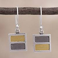 Gold accent sterling silver dangle earrings, 'Golden Symmetry' - Square Gold Accent Sterling Silver Earrings from Peru