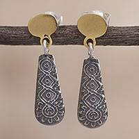 Gold accent sterling silver dangle earrings, 'Colonial Illusion' - 18k Gold Accent Sterling Silver Dangle Earrings from Peru