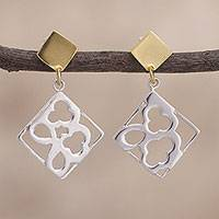 Gold accent sterling silver dangle earrings, 'Gleaming Cards' - Square-Shaped Gold Accent Sterling Silver Earrings from Peru