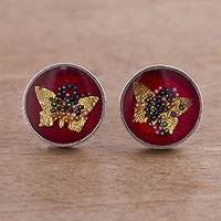 Sterling silver stud earrings, 'Divine Butterflies' - Sterling Silver Butterfly Stud Earrings from Peru