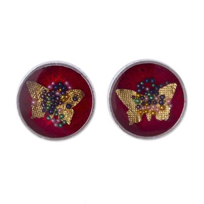 Sterling Silver Butterfly Stud Earrings from Peru