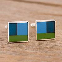 Sterling silver cufflinks, 'Sophisticated Squares' - Square Sterling Silver Cufflinks from Peru