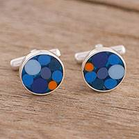 Sterling silver cufflinks, 'Colorful Dots in Blue' - Circle Motif Sterling Silver Cufflinks in Blue from Peru