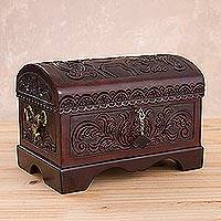 Cedar wood and leather jewelry box, 'Deer of the Forest'