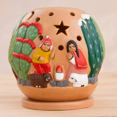 Ceramic Christmas Nativity Scene Tealight Candleholder Nativity Amid The Cactus Novica