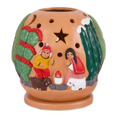 Ceramic Christmas Nativity Scene Tealight Candleholder