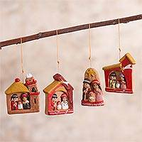 Ceramic ornaments, 'Ayacucho Nativities' (set of 4) - 4 Ceramic Christmas Ornaments with Ayacucho Nativity Scenes