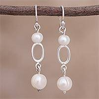 Cultured pearl dangle earrings, 'Infinite Glow' - Cultured Pearl and Silver Dangle Earrings from Peru