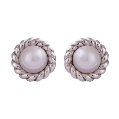 Rope Motif Cultured Pearl Stud Earrings from Peru