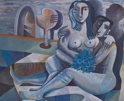 'Loving One Another II' (2017) - Signed Cubist Portrait of a Nude Man and Woman in Love