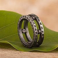Men's sterling silver band ring, 'Dark Thor' - Men's Dark Sterling Silver Band Ring from Peru