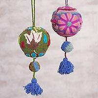 Wool holiday ornaments, 'Garden Cheer' (pair) - Multi-Color Hand Crafted Wool Floral Ornaments (Pair)