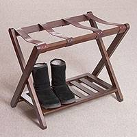 Wood and leather folding luggage rack, 'Elegant Assistant' - Handcrafted Mohena Wood and Leather Folding Luggage Rack