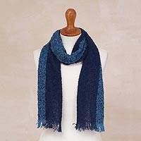 Alpaca blend scarf, 'Blue Note' - Blue Color-Blocked Alpaca Blend Boucle Scarf