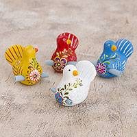 Ceramic figurines, 'Love Dove' (set of 4) - Hand Painted Ceramic Doves for Love Notes (Set of 4)